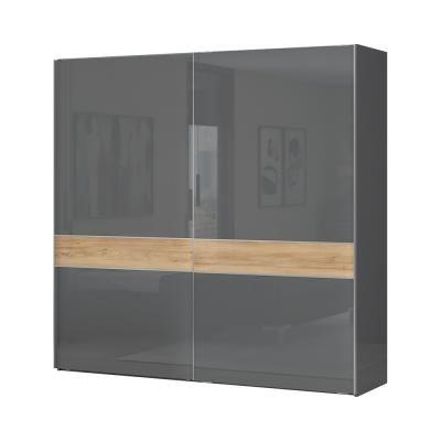 Tolóajtós magasfényű gardróbszekrény, 230x224 cm, antracit-tölgy - BISE